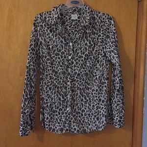 JCrew leopard print button down shirt